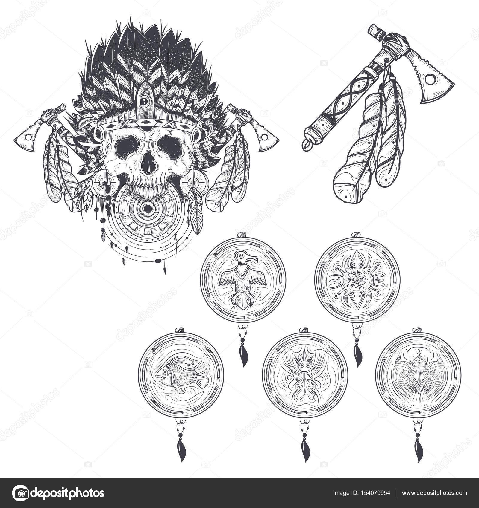 Conjunto de plantillas del vector para un tatuaje con un cráneo ...