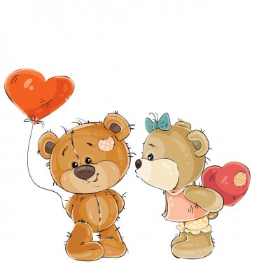 Vector illustration of a brown teddy bear holding in its paw a red balloon in the shape of a heart, his girlfriend is going to kiss him. Print, template, design element stock vector