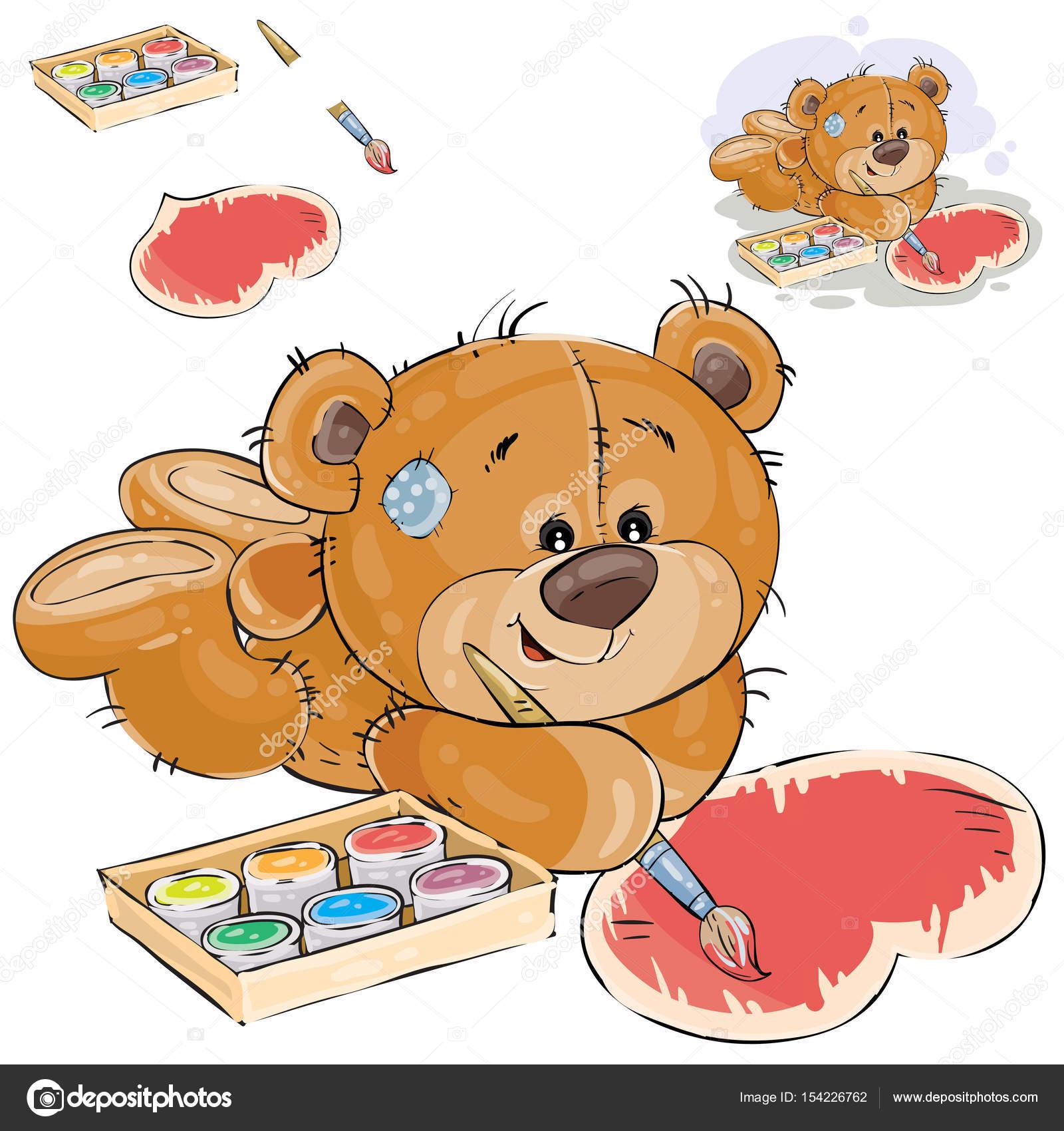 Vektor-Illustration ein brauner Teddybär Farben ein Herz mit einer ...