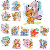 Photo A set of vector illustrations with a brown teddy bear and numerals and mathematical symbols.