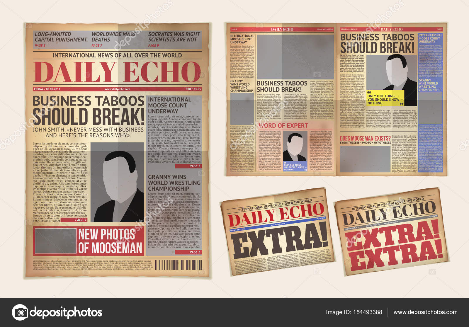 Vector Old Daily Newspaper Template Tabloid Layout Posting