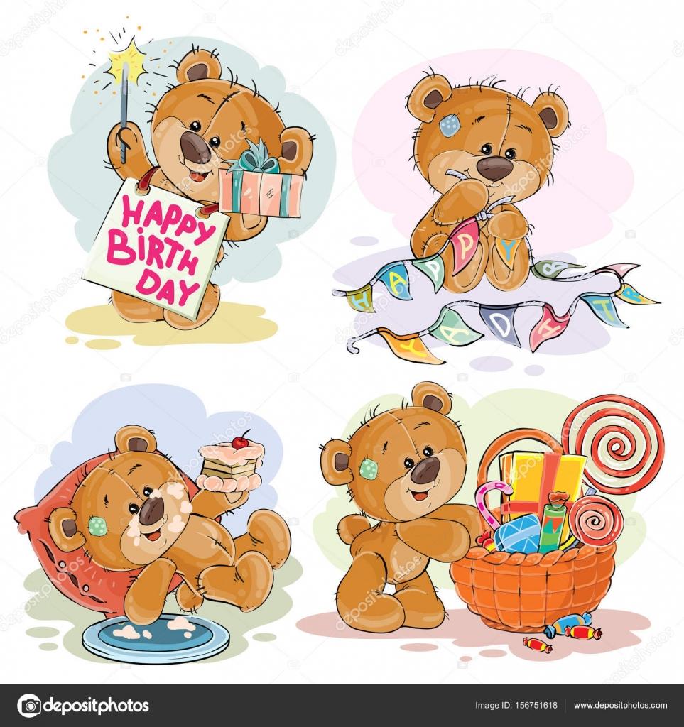Set Van Vector Clip Art Illustraties Van Bruin Teddybeer Wenst U Een