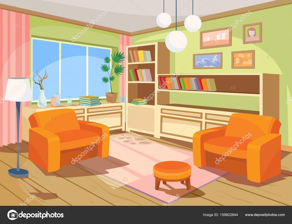 Vektor-Illustration eines Cartoon-Interieurs eines orange Haus ...