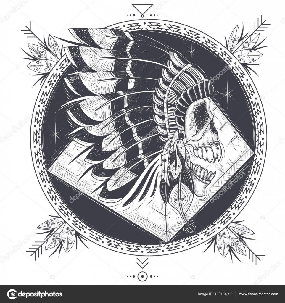 Ilustración de vector de una plantilla para un tatuaje con un cráneo ...