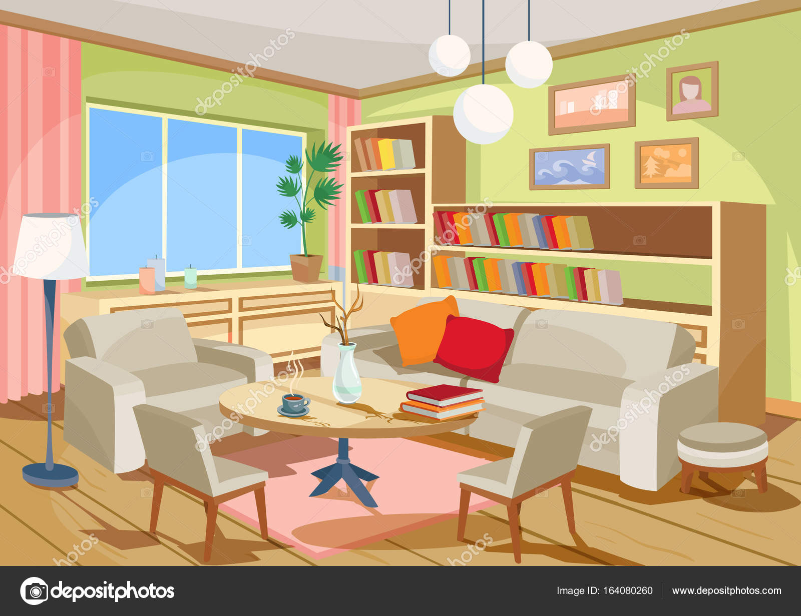 Sensational Vector Illustration Of A Cozy Cartoon Interior Of A Home Interior Design Ideas Gresisoteloinfo