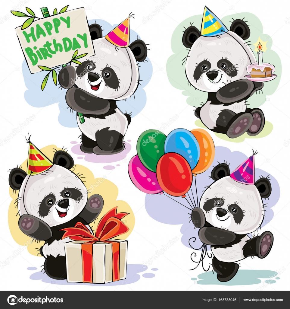 Urso Panda Bebê Comemora O Vetor De Desenhos Animados De