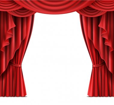 Stage curtain with copyspace realistic vector