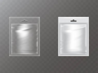Plastic packets with hand hole realistic vector