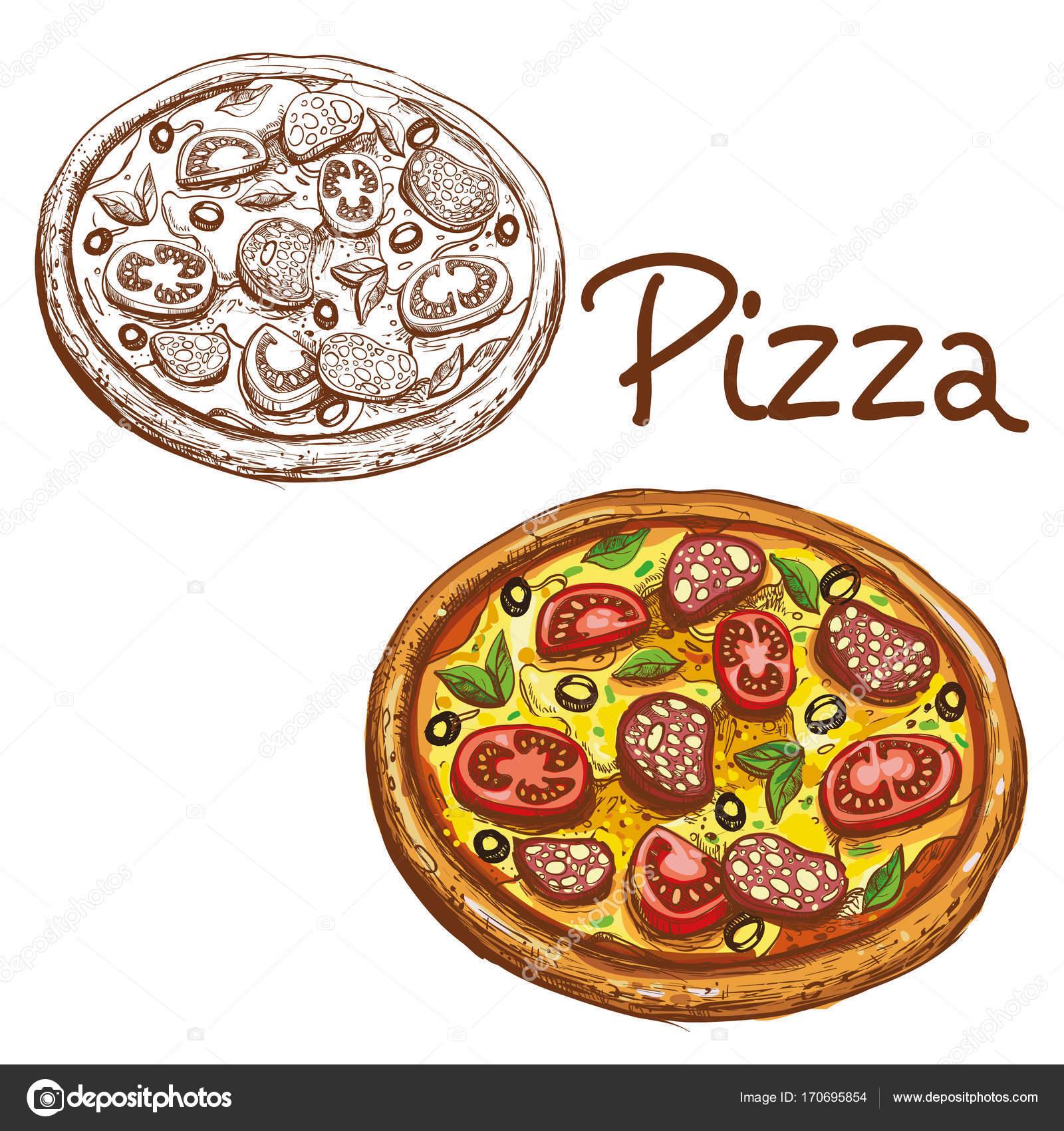 Satz Von Vektor Illustrationen Runden Italienische Pizza Farbe Und