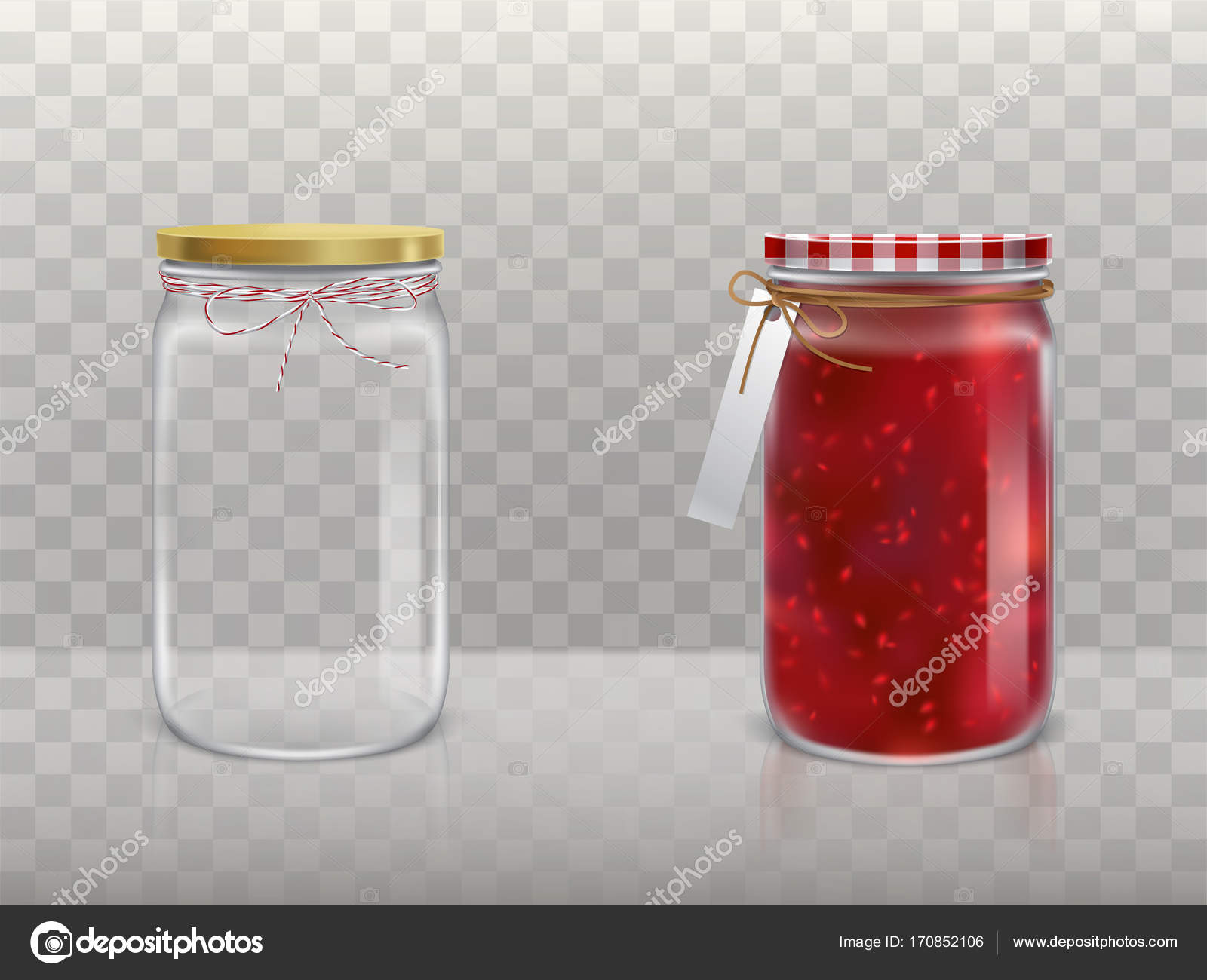 A set of vector illustrations of glass round jars with raspberry jam ...