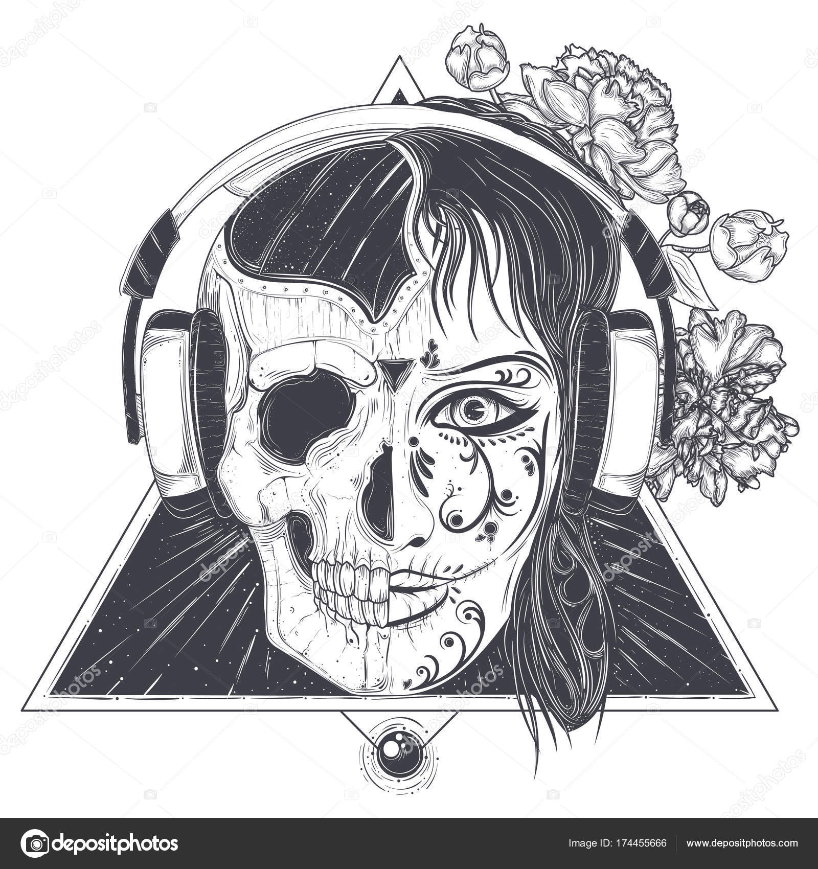 Womans Head With Half Face Skull Engraved Vector Stock Vector