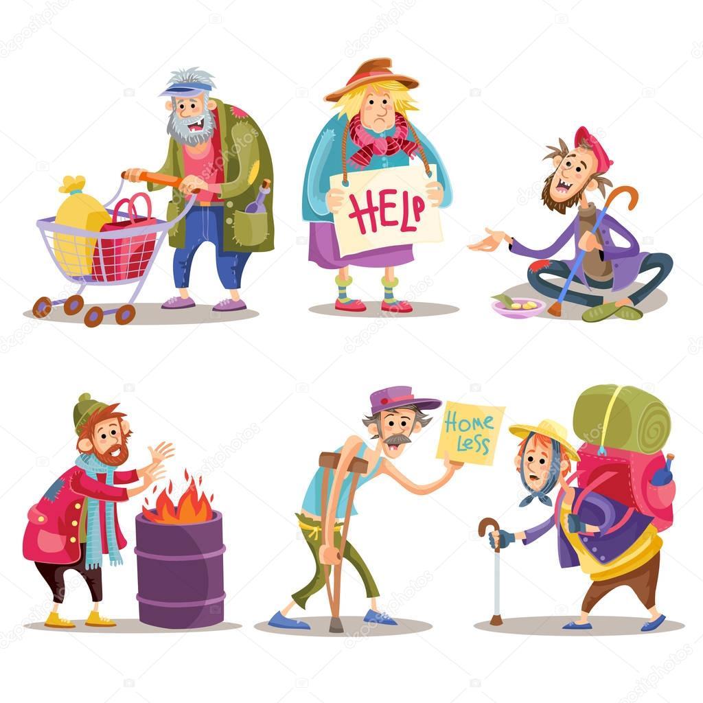 ✓ Beggars, homeless, tramps, hobo, funny vector cartoon set ...