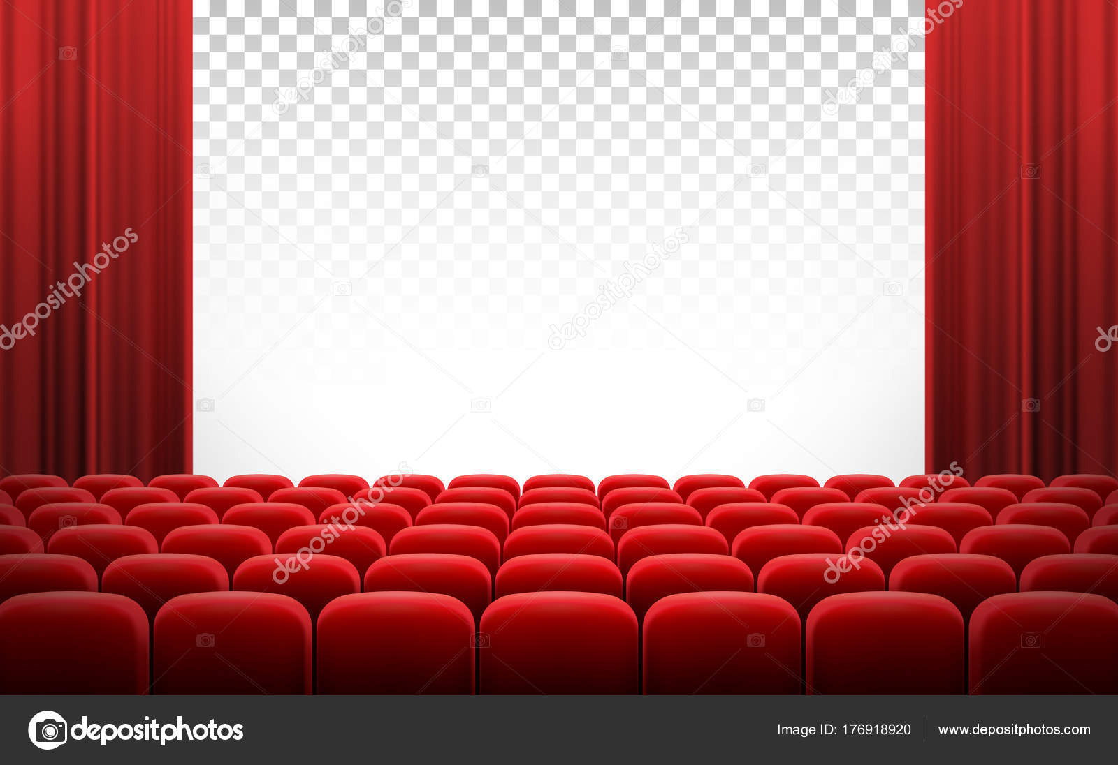 White Transparent Cinema Movie Theatre Screen With Red Curtains And Rows Of Chairs Realistic Vector Illustration Background