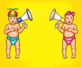 Fotografie Zwei überraschte Jungen und Mädchen mit Lautsprechern