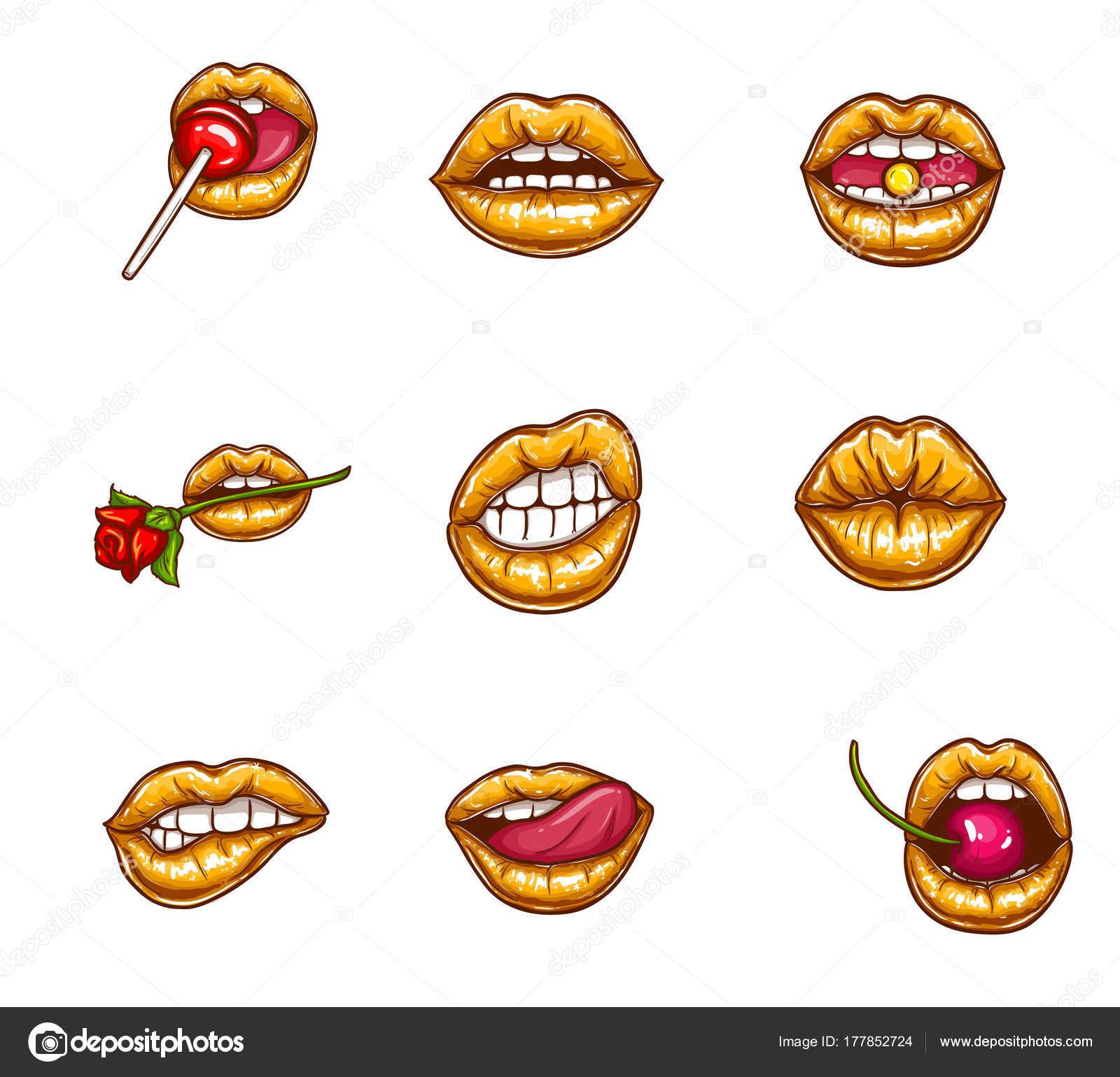 ポップアート セクシーな女性の唇, ベクトル クリップ アート — ストック