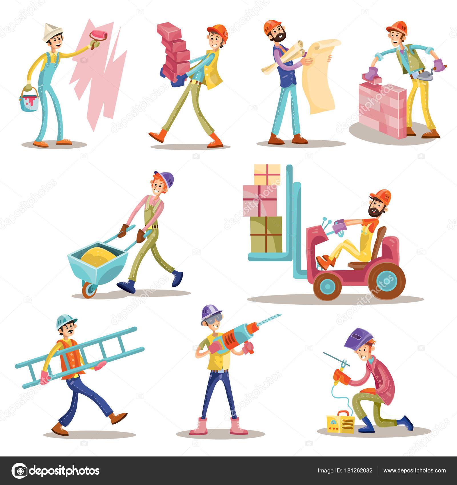 f630fcbcd5371 Construcción trabajadores vector dibujos animados divertidos iconos el  sistema los hombres. Constructor