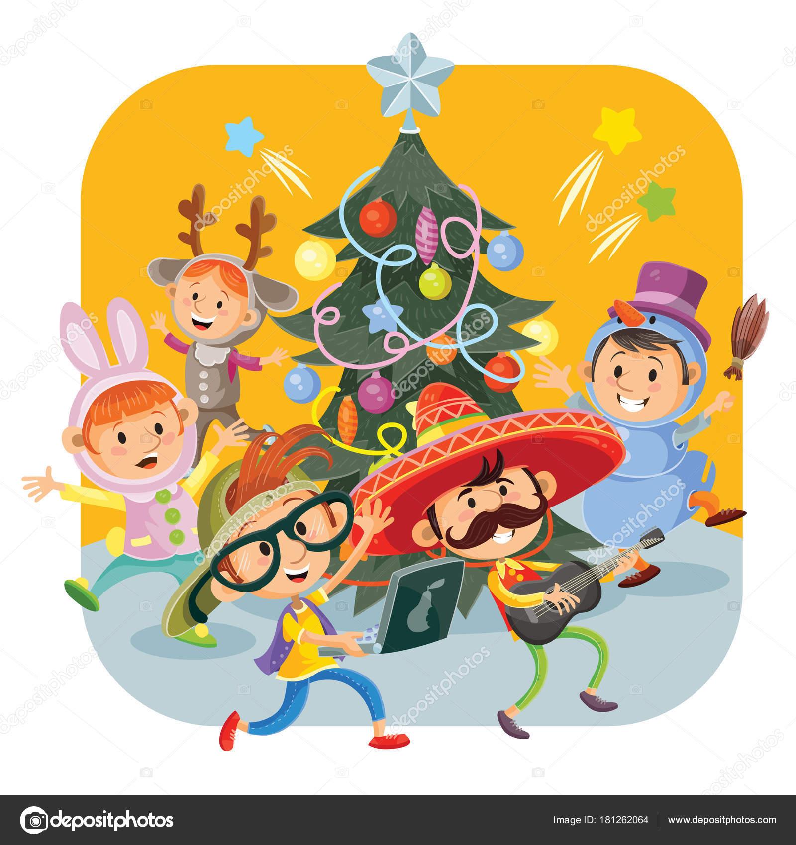 Kinder Weihnachtsfeier Mit Fröhlichen Jungen Und Mädchen Kostüme ...