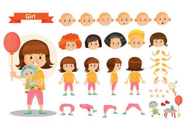 Girl kid playing games and toys vector cartoon child character constructor isolated icons of body parts and face emotions. Construction set for create a young girl child playing doll