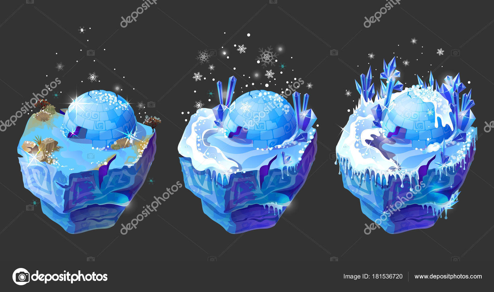 vector isometric 3d fantasy ice island game design — stock vector