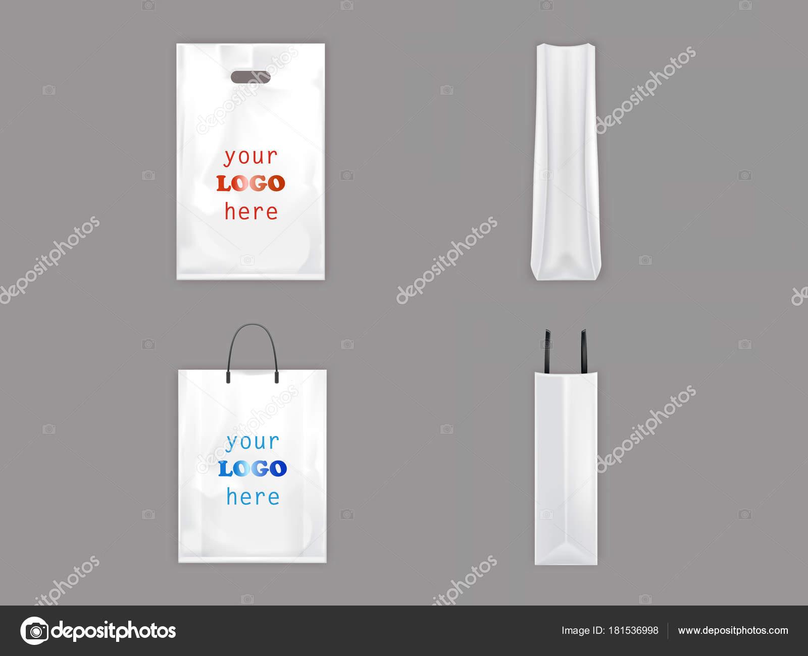 Kunststoff- und Einkaufstaschen Vektor isoliert 3d realistisch weiße ...