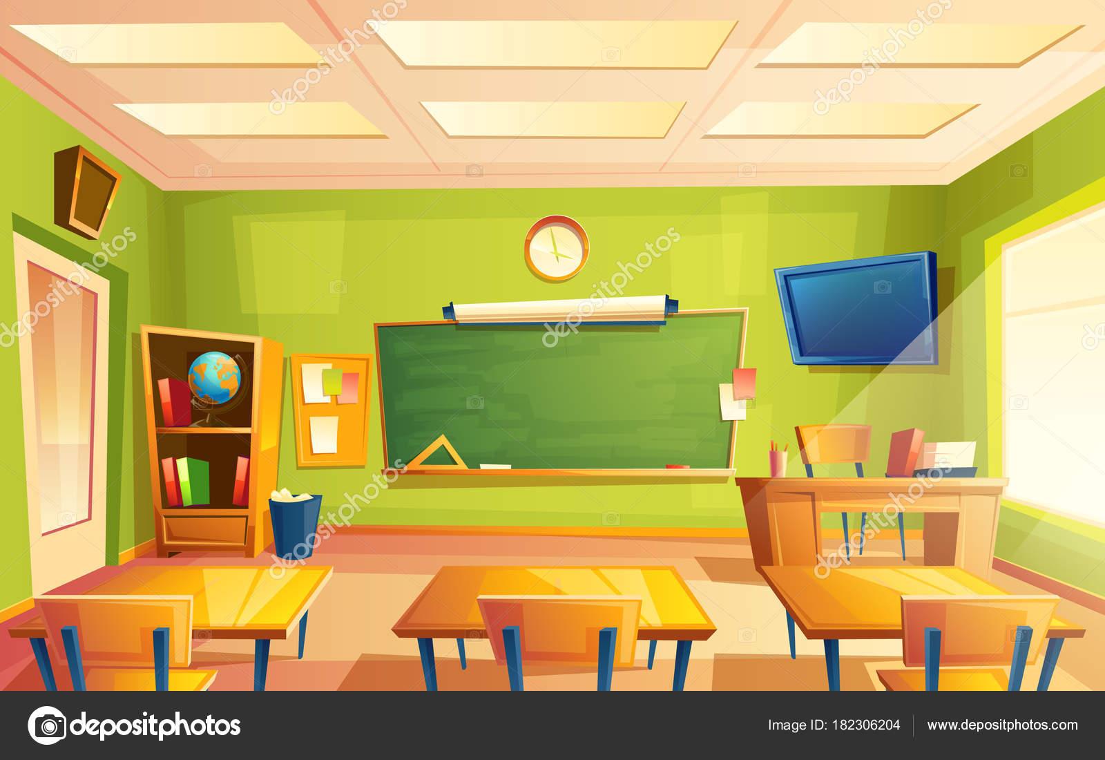 vector school klas interieur opleiding van de kamer universiteit onderwijsconcept blackboard tafel