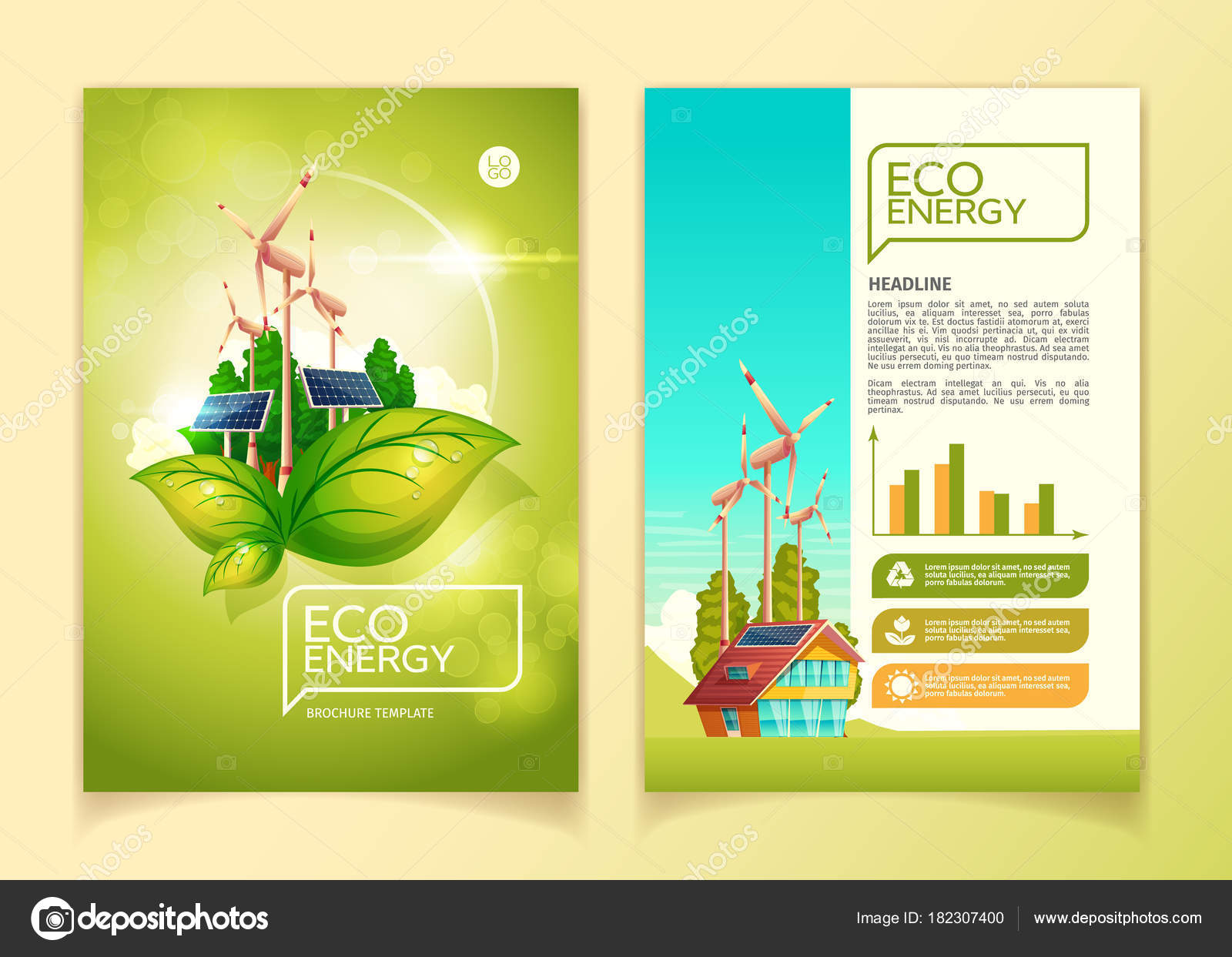 eco energy concept brochure template vector illustration for green nature environment conservation and natural resources flat booklet design template of