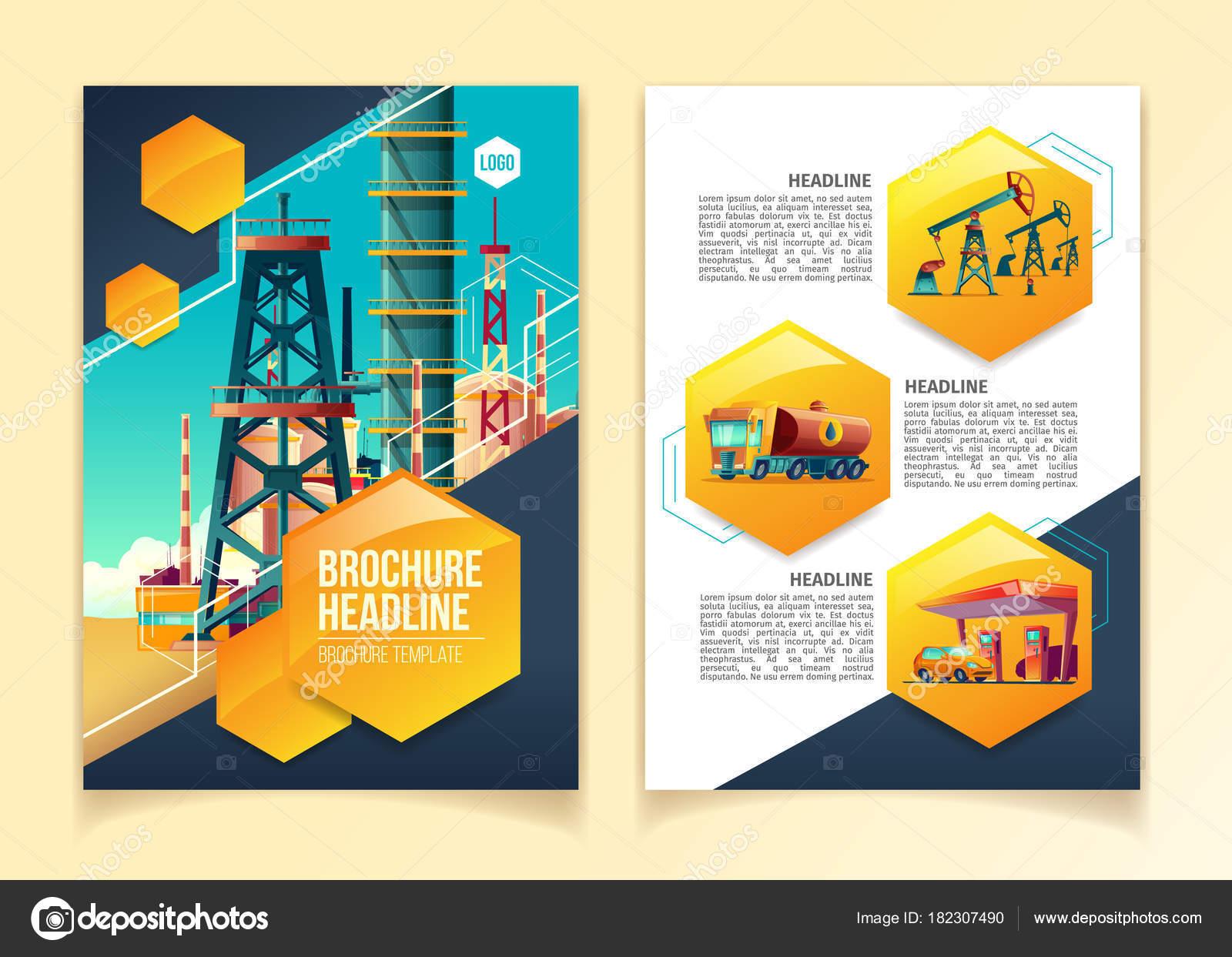 Oil industry brochure template vector illustration for oil refinery ...
