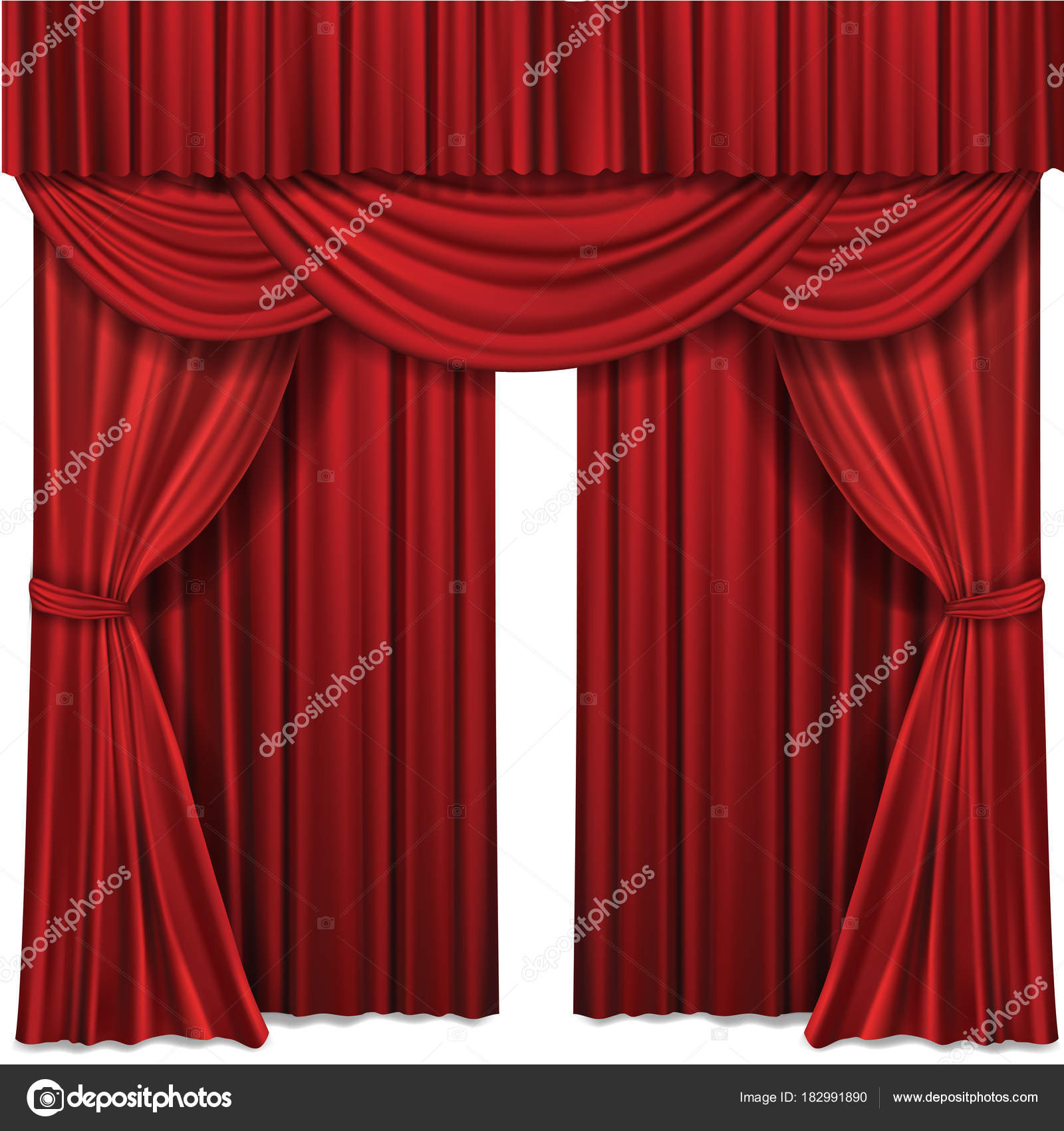 Red Stage Curtains Realistic Vector Illustration For Theater Or Opera Scene Performance Stock