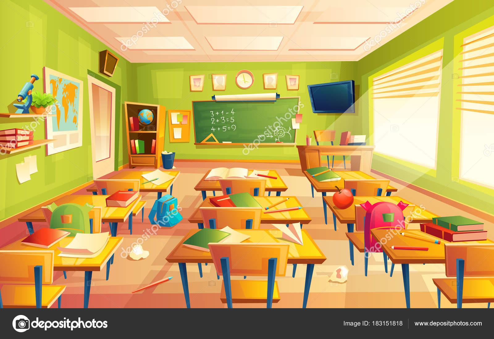 Vector escuela aula, matemáticas formación espacio interior ...