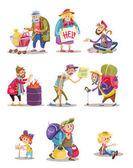 Obdachlose und Bettler Menschen Vektor Cartoon-Illustration von Frau, Mann und Kind betteln um Geld und Essen