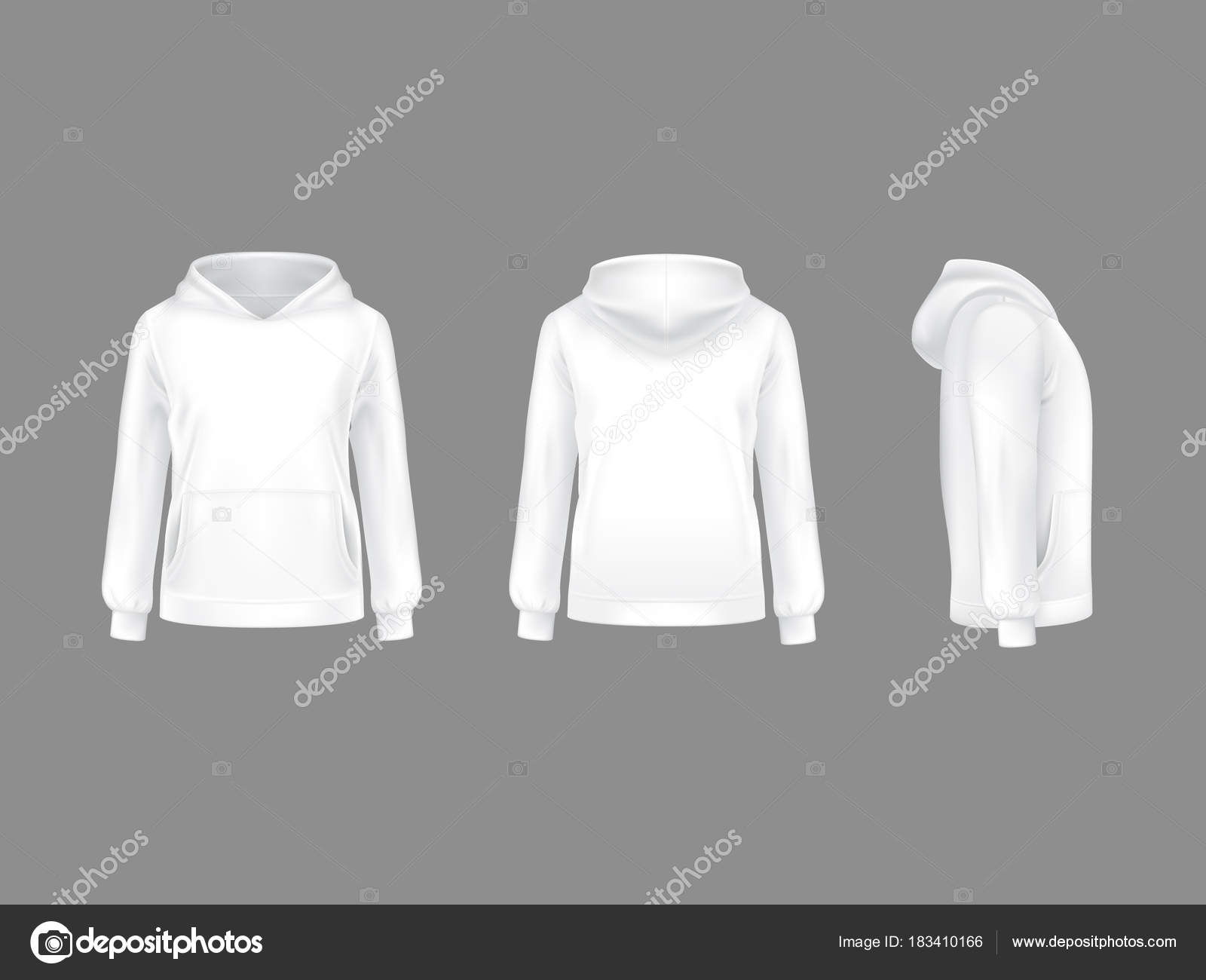 Vektor-3d realistisch Hoodie Sweatshirt weiß Nachbildung ...