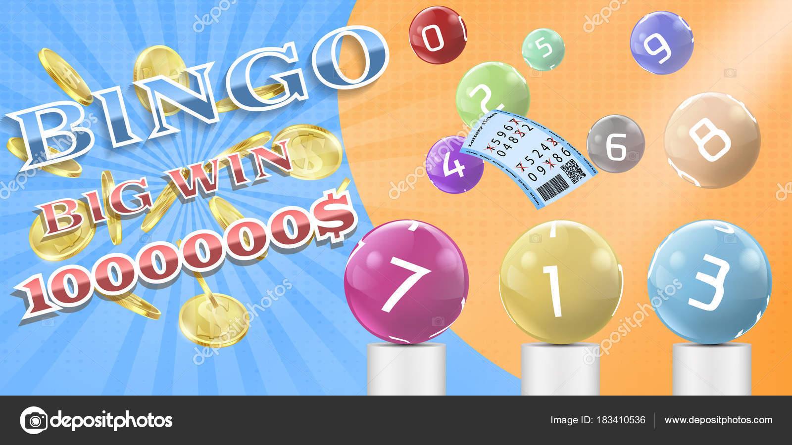 Poster del juego vector lotería bingo, plantilla de banner — Vector ...