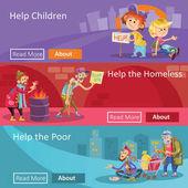 Hilfe für Obdachlose und Arme Vektor Illustration Web-Banner für soziale Wohltätigkeitsprojekt oder Organisation