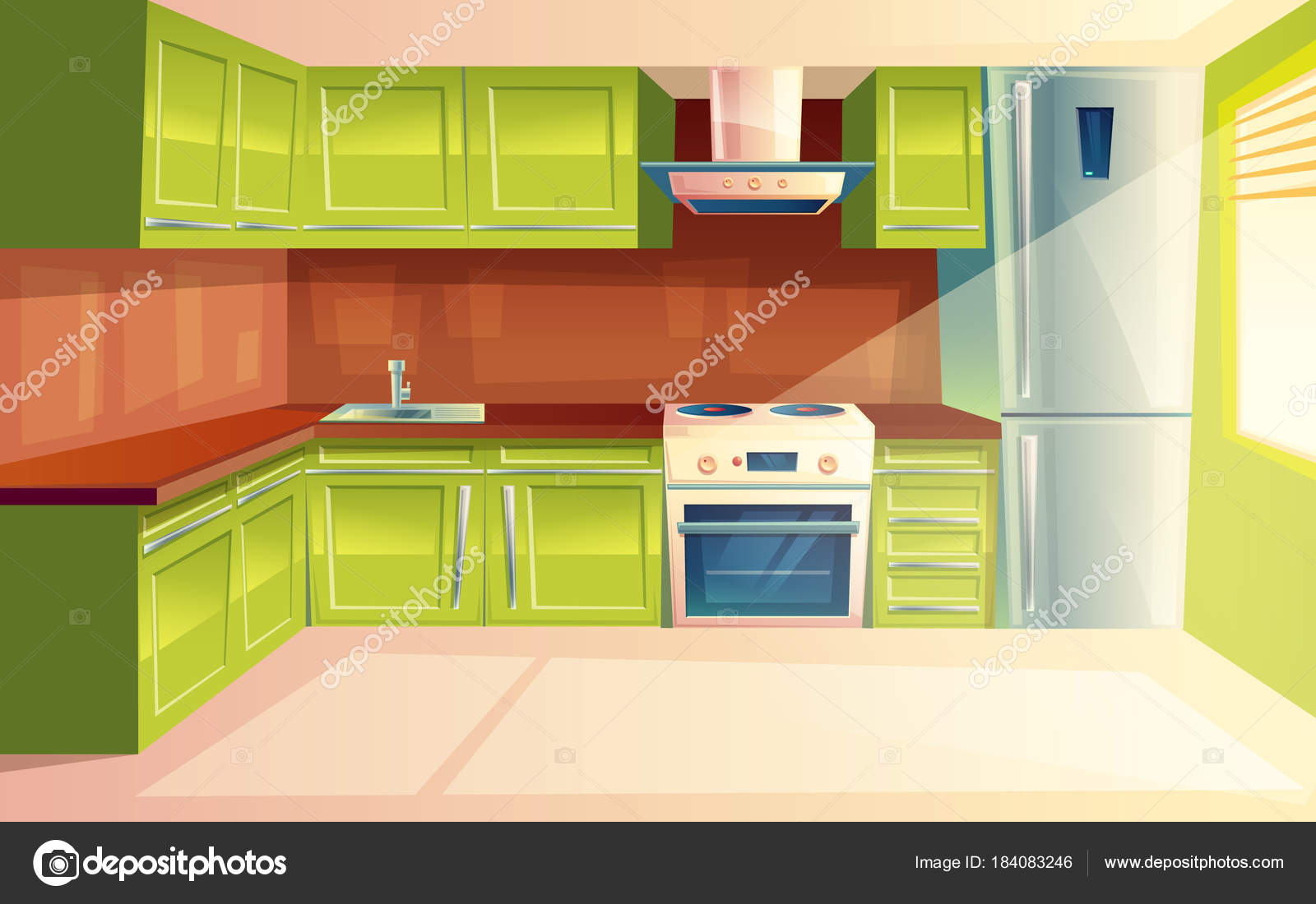 Vector Cartoon Modern Kitchen Interior Background Stock Vector