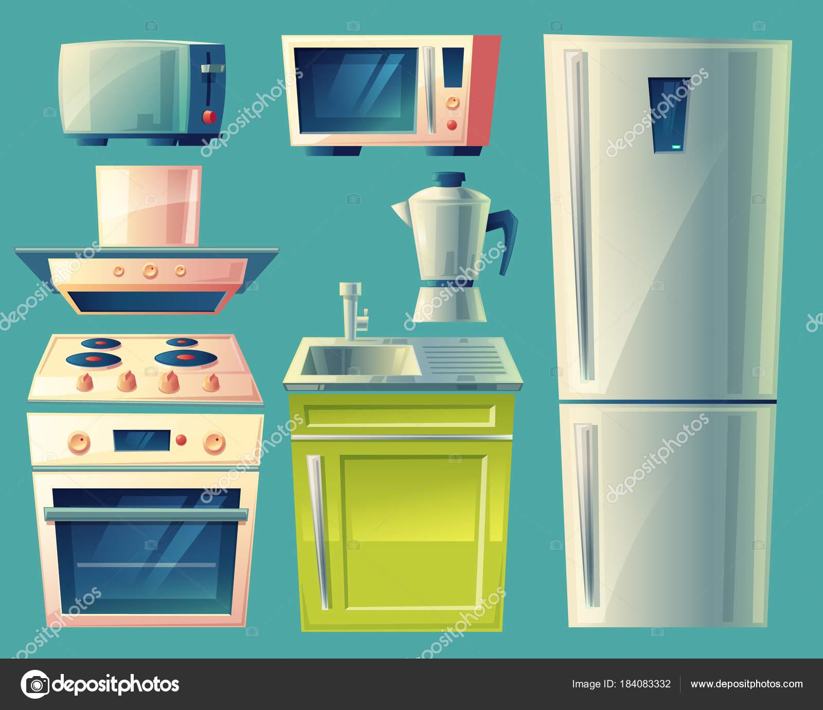 Im genes cocinas animadas vector de dibujos animados cocina objetos interiores vector de - Objetos de cocina ...