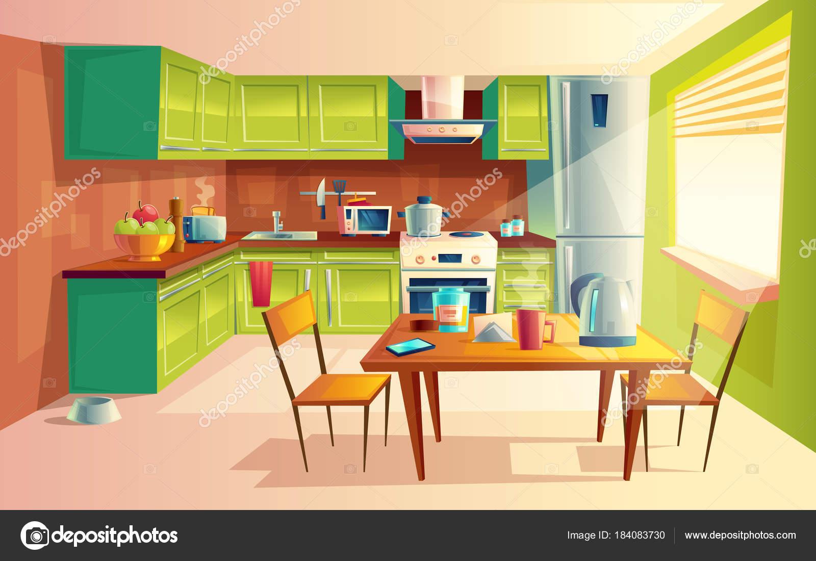 Ilustra o de desenho vetorial do interior de cozinha for Mueble animado