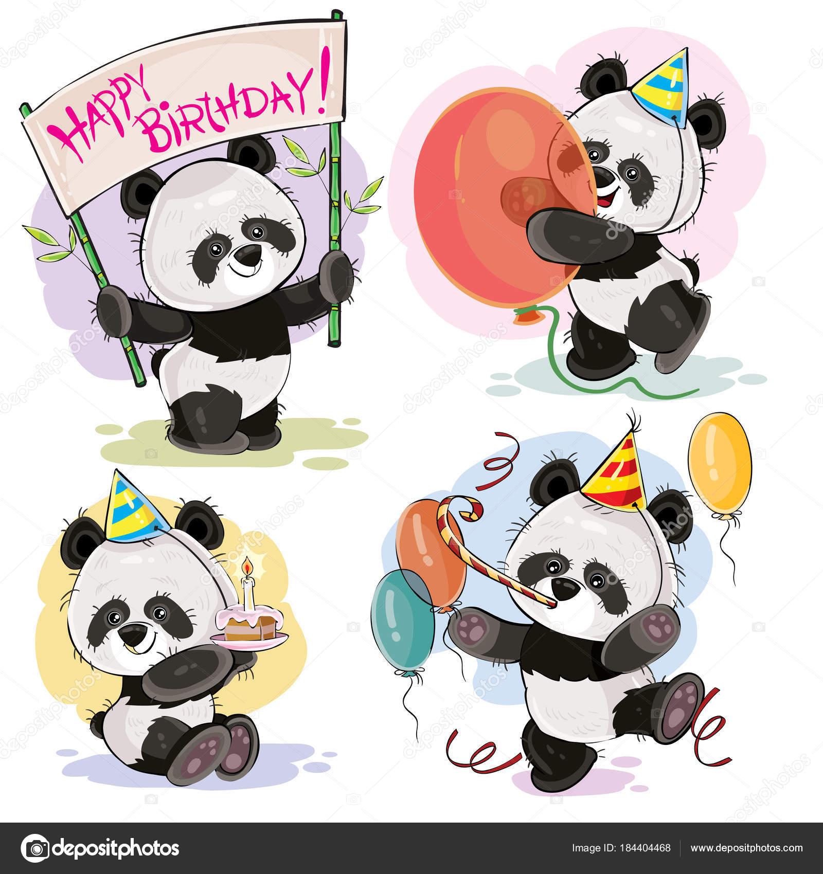 Vecteur De Joyeux Anniversaire Sertie De Bébé Panda Ours Image
