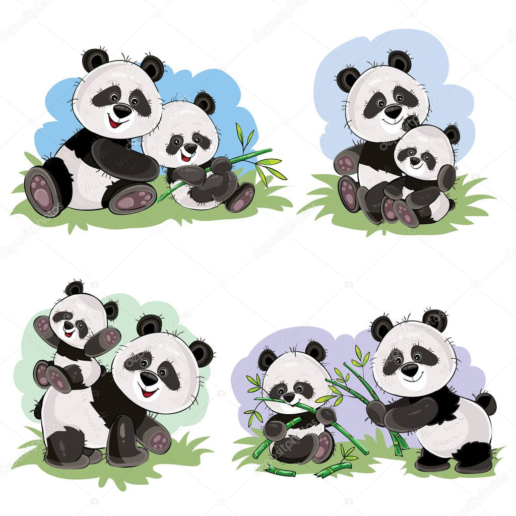 Vector cartoon set of cute panda bear characters