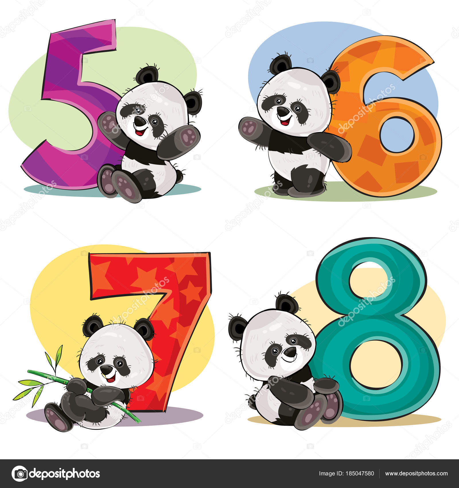 vector set of cute baby panda bears with numbers stock Math for Elementary School Clip Art Math Clip Art for Teachers