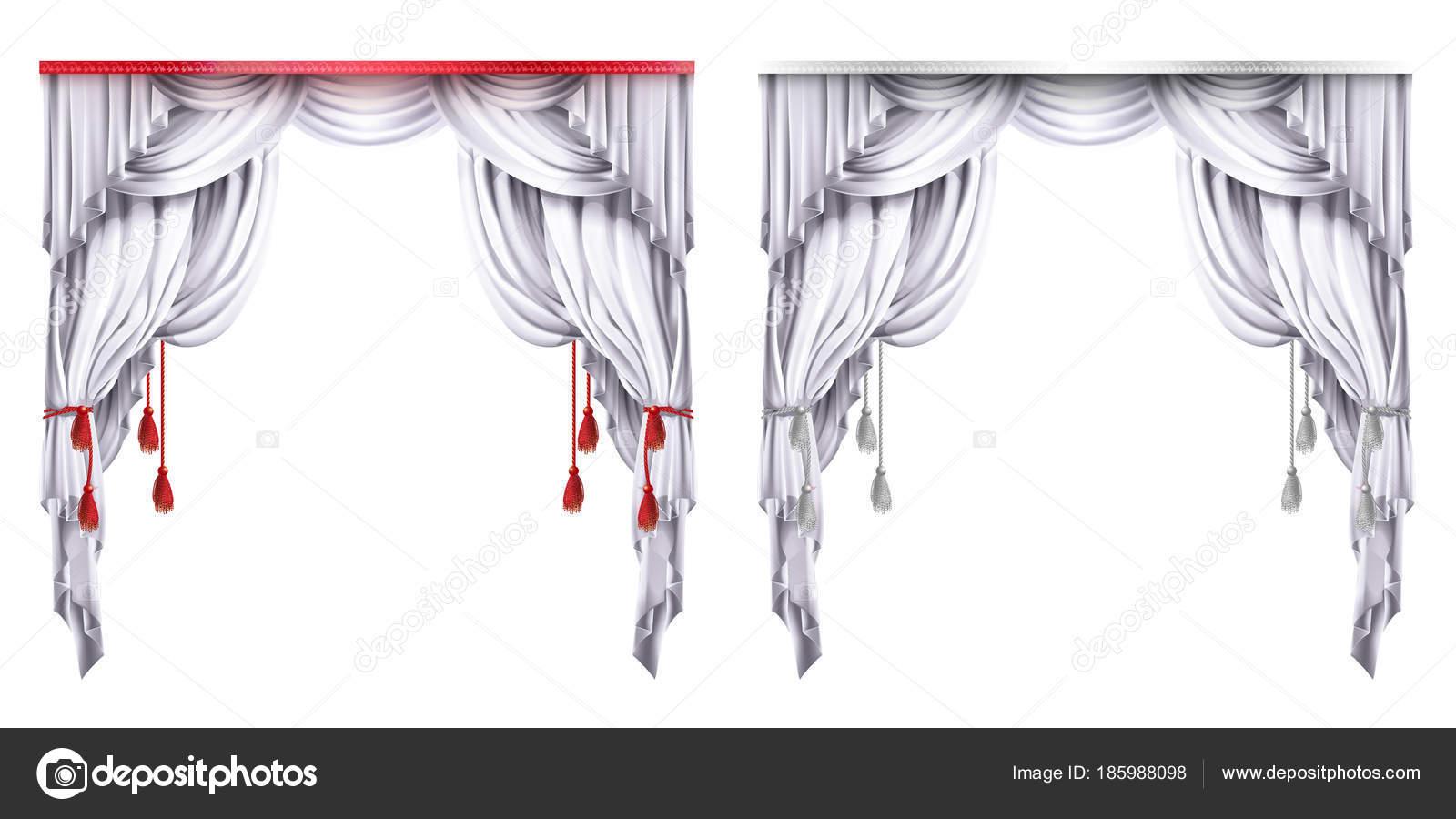 Vector zijde, velours gordijnen met rode of witte kwasten. Theatrale ...