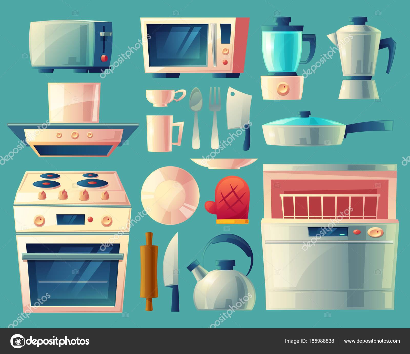 Conjunto de dibujos animados vector de electrodom sticos for Objetos de cocina