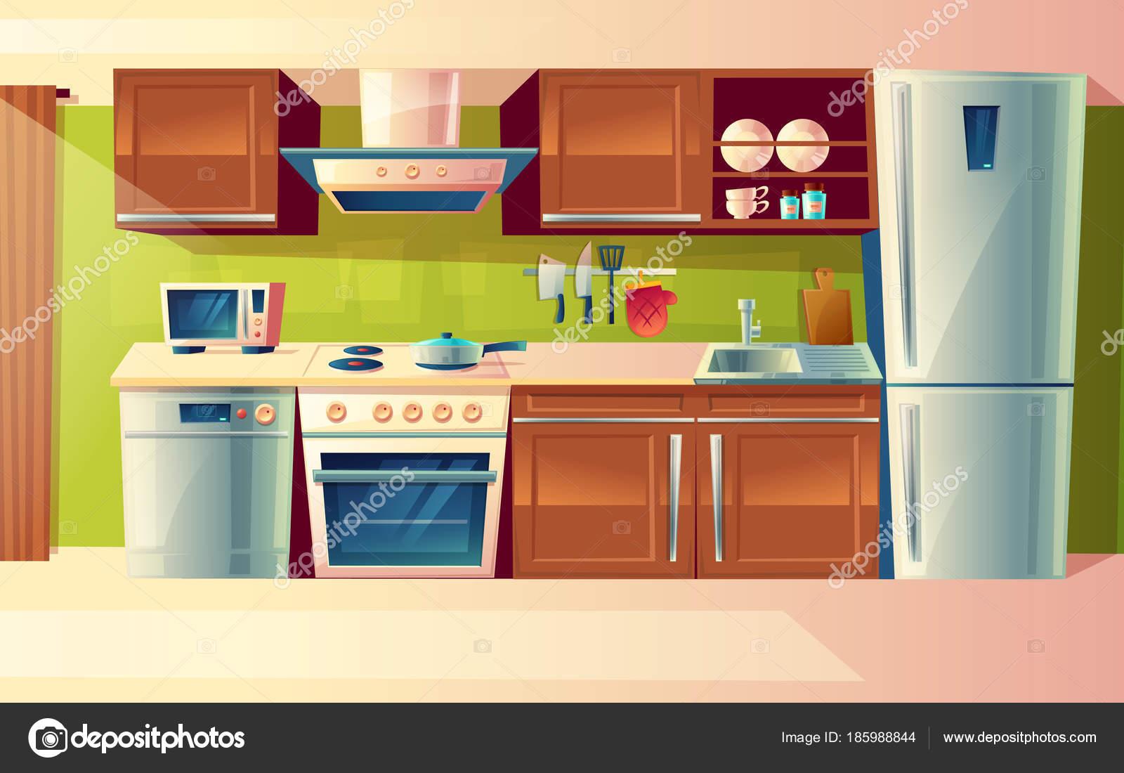 Fumetto del set di contatore di cucina con elettrodomestici ...