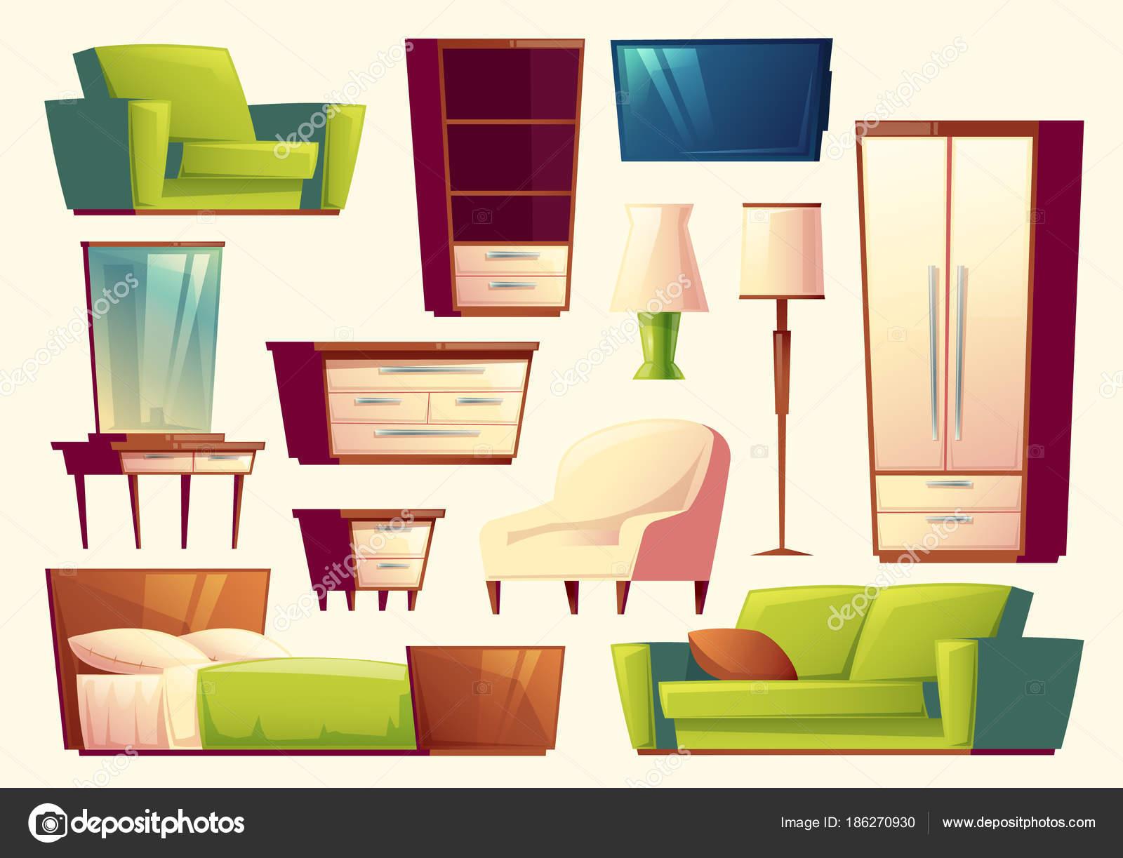 Vector de dibujos animados conjunto de muebles - sofa, cama, armario ...