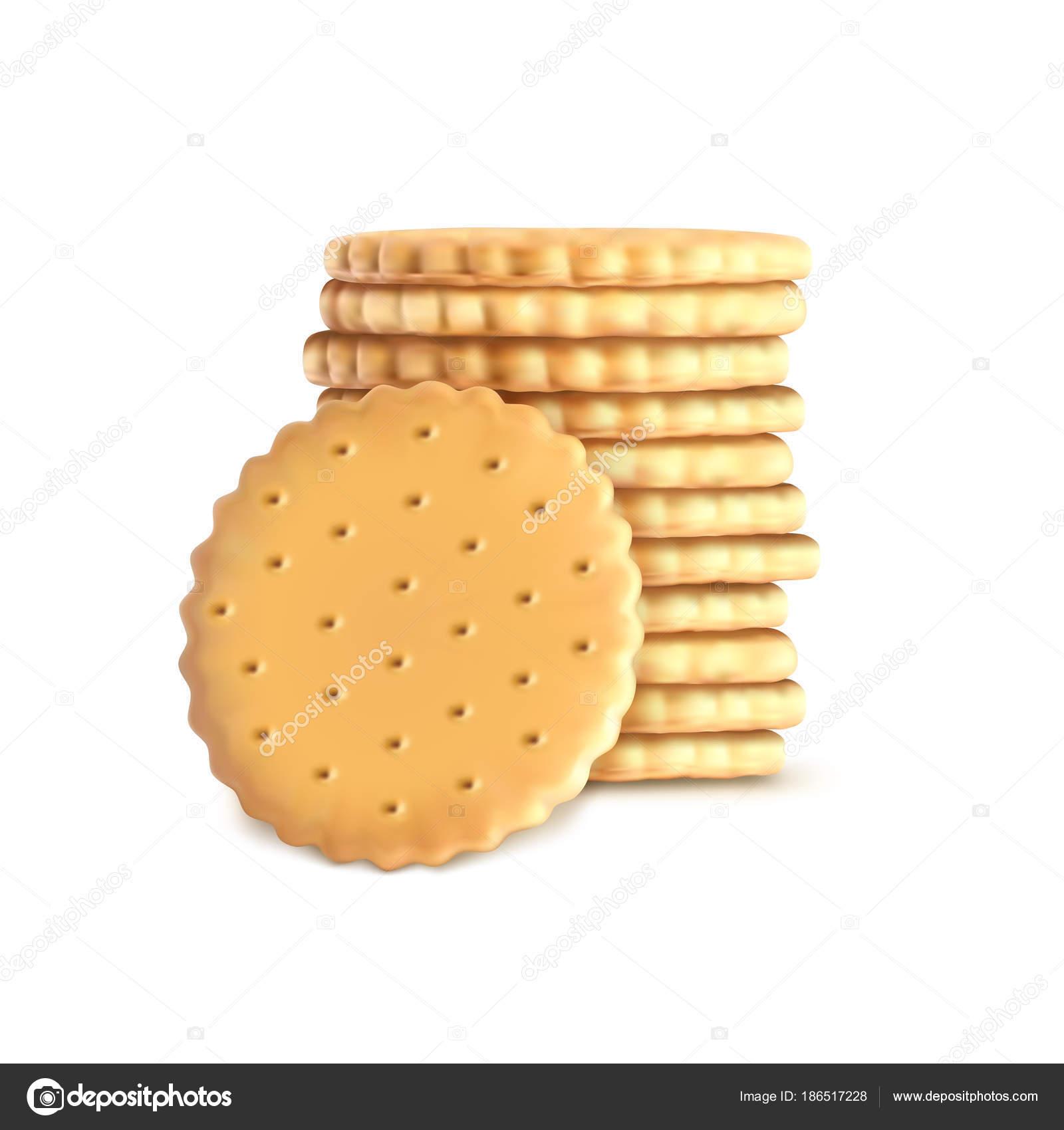 Vector stack of round biscuit cookies. Template, mockup for crackers ...