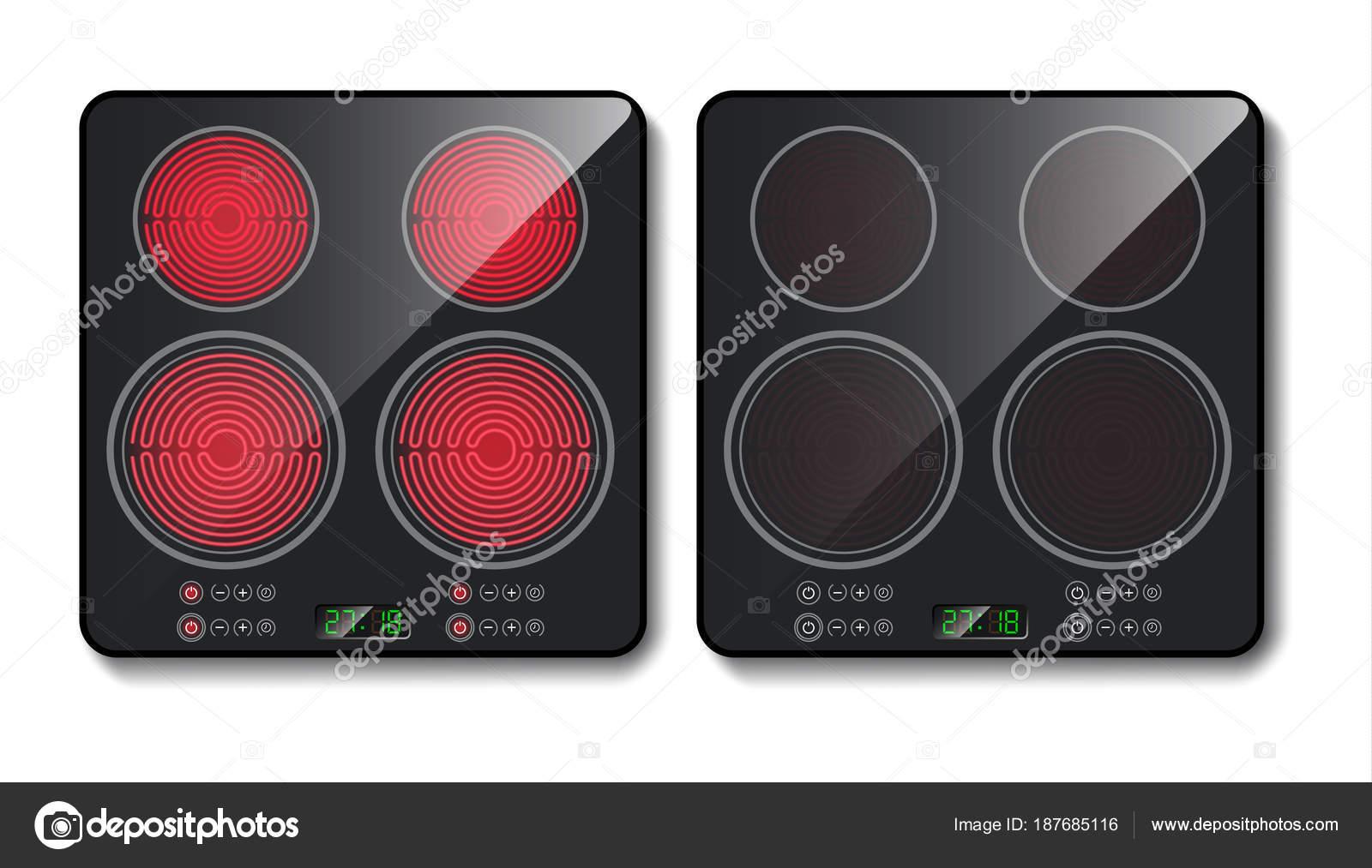 Placa de inducción negro realista de Vector, vista superior — Vector ...