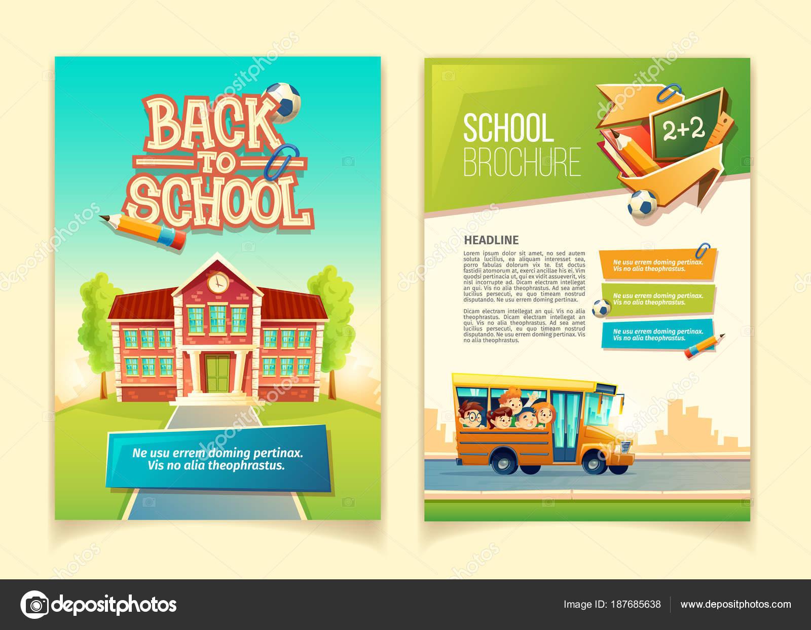 Back to school brochure vector cartoon template — Stock Vector ...