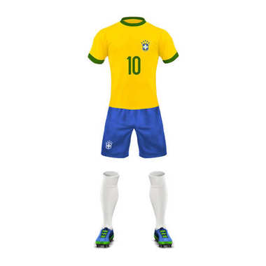 Vector realistic soccer uniform of a brazil team