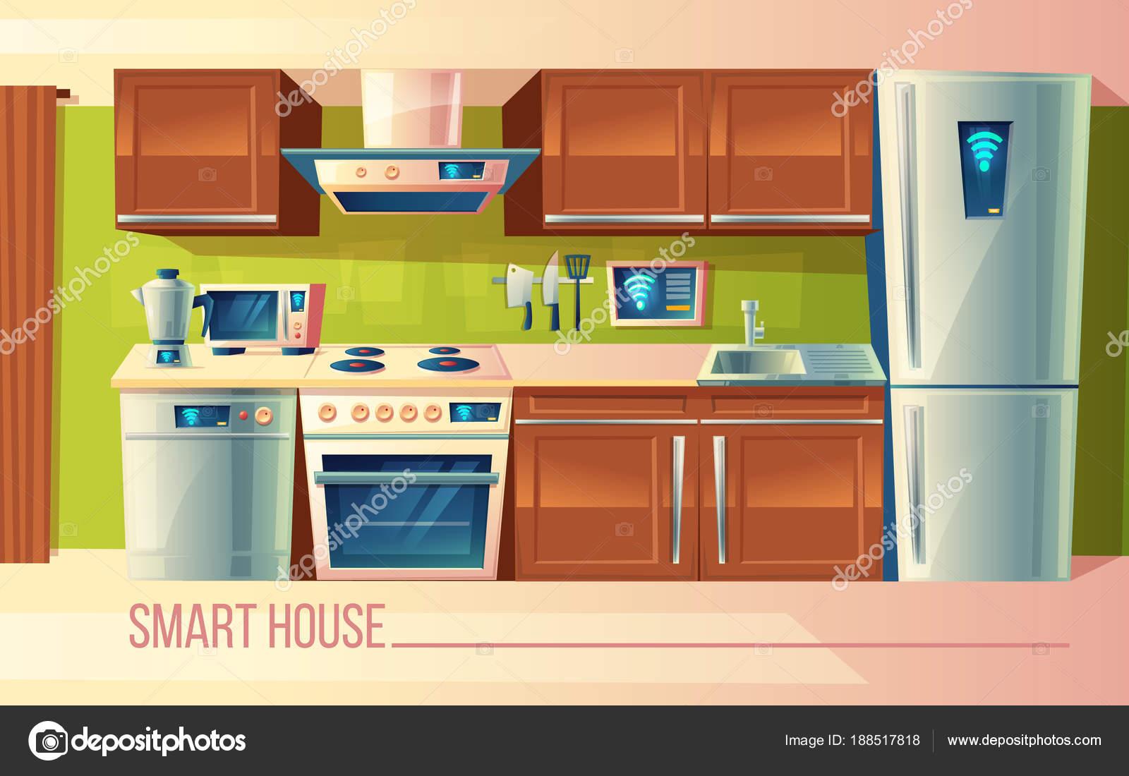 Casa elegante de Vector, control inalámbrico de aparatos de cocina ...