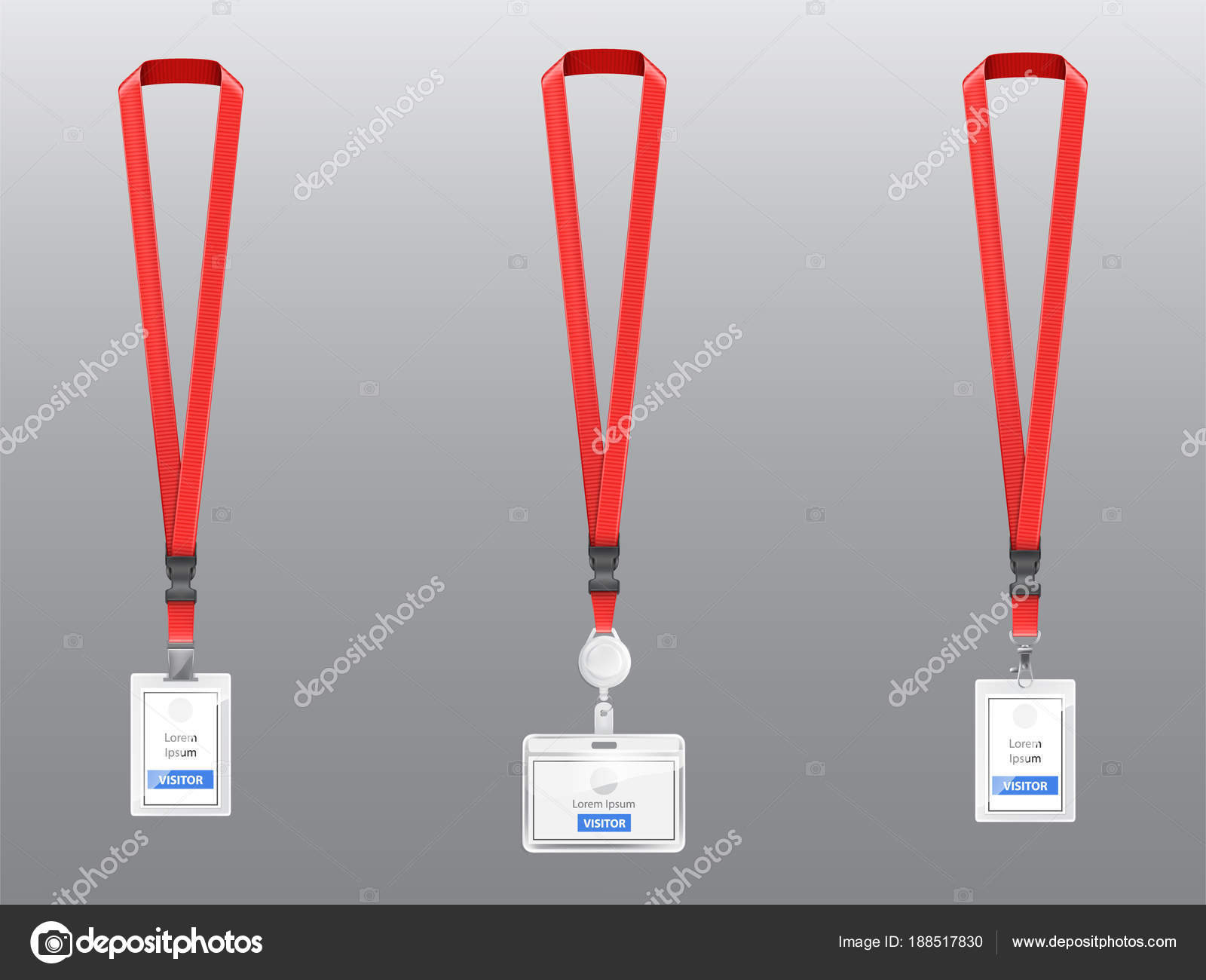 Vector set of ID cards, badges with red lanyards — Stock Vector