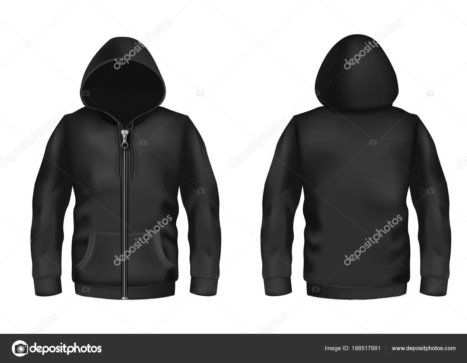 Vektor-Modell mit realistischen schwarzer hoodie — Stockvektor ...